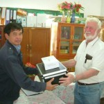 Bill handing over Medical equipment