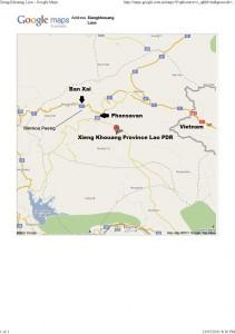 MAP - Ban Xai Xiengkhouang Laos
