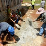 Mixing Mortar for the brick construction